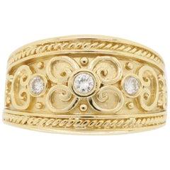 14 Karat Yellow Gold Diamond Scroll Design Right Hand Ring