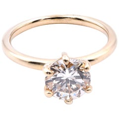 14 Karat Yellow Gold Diamond Solitaire Engagement Ring