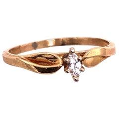 14 Karat Yellow Gold Diamond Solitaire Ring 0.10 Total Diamond Weight