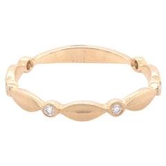 14 Karat Yellow Gold Diamond Stackable Band Ring