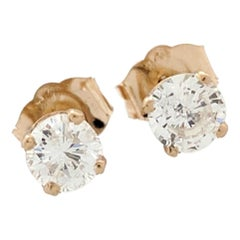 14 Karat Yellow Gold Diamond Stud Earrings .50 Carat I1/H