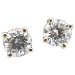 14 Karat Yellow Gold Diamond Stud Earrings .55 Carat