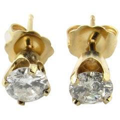 14 Karat Yellow Gold Diamond Stud Earrings .72 Carat