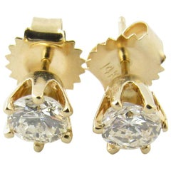 14 Karat Yellow Gold Diamond Stud Earrings .80 Carat