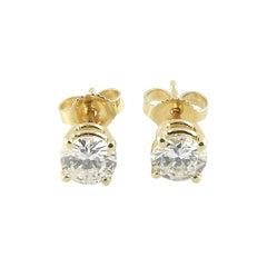14 Karat Yellow Gold Diamond Stud Earrings .90 Carat