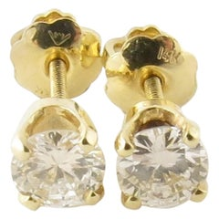14 Karat Yellow Gold Diamond Stud Earrings .90 Carat