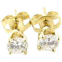 14 Karat Yellow Gold Diamond Stud Earrings