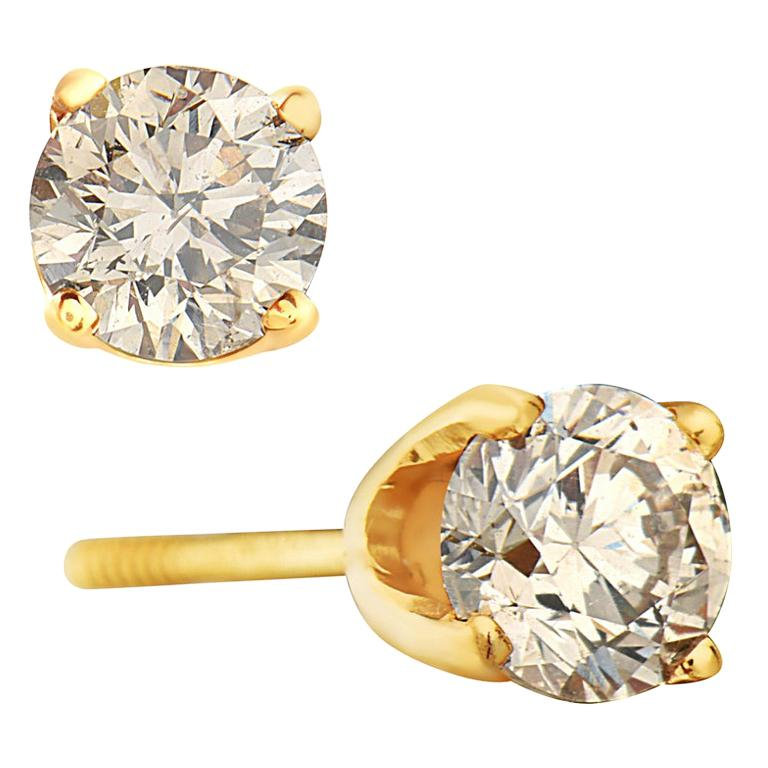 14 Karat Yellow Gold Diamond Stud Earrings For Sale
