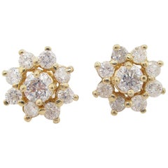 14 Karat Yellow Gold Diamond Stud Earrings with Diamond Jackets