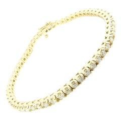 14 Karat Yellow Gold Diamond Tennis Bracelet 2.75 Carat