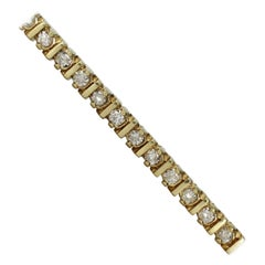 "14 Karat Yellow Gold Diamond ""Tennis Bracelet"" 3.08 Carat F SI2"