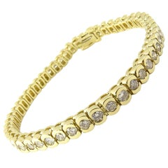 14 Karat Yellow Gold Diamond Tennis Bracelet 4 Carat
