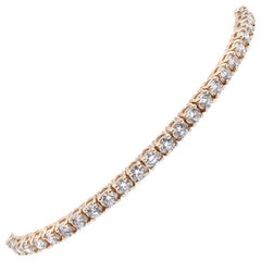 14 Karat Yellow Gold Diamond Tennis Bracelet