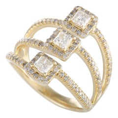 14 Karat Yellow Gold Diamond Three Square Ring