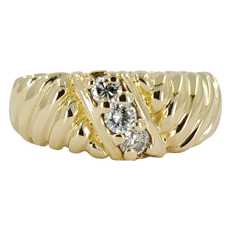 14 Karat Yellow Gold Diamond Three Stone Fashion Ring For Sale
