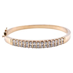 14 Karat Yellow Gold Diamond Two-Row Bangle