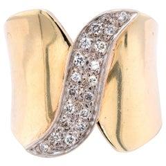 14 Karat Yellow Gold Diamond Waterfall Cocktail Ring