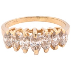 14 Karat Yellow Gold Diamond Waterfall Ring