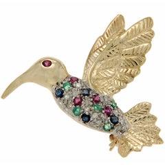 14 Karat Yellow Gold Diamonds and Multi Gemstones Hummingbird Pin Brooch