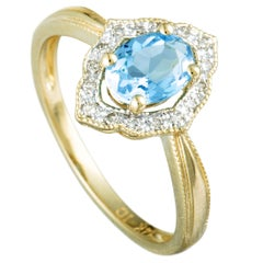 14 Karat Yellow Gold Diamonds and Topaz Small Ring
