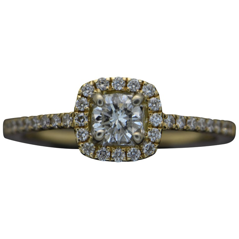 14 Karat Yellow Gold Diamonds Ring For Sale