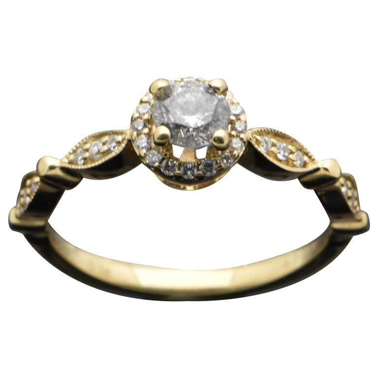14 Karat Yellow Gold Diamonds Ring For Sale