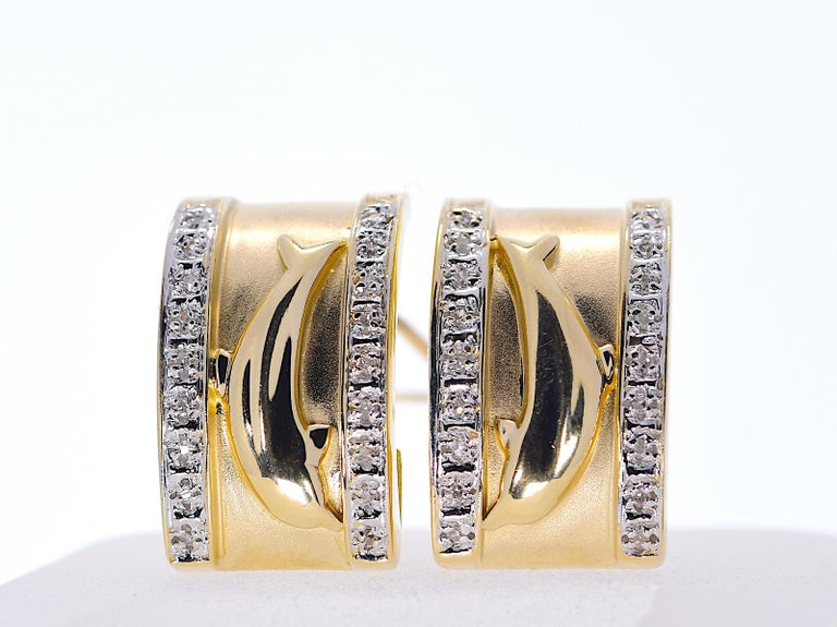 14k Yellow Gold Dolphin Half Cuff with Diamonds Earrings 11.70 grams  Stone: Natural Diamonds   TCW: .15   Shape: Round Metal: Yellow Gold Purity: 14k Theme: Dolphin Total Gram Weight: 11.70  JESSUP'S PRICE: $625.00!  #161248-20 Seaside Beauty!
