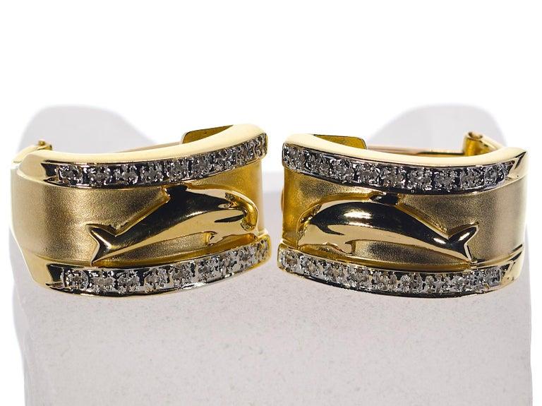 Modern 14 Karat Yellow Gold Dolphin Half Cuff with Diamonds Earrings 11.70 Grams For Sale