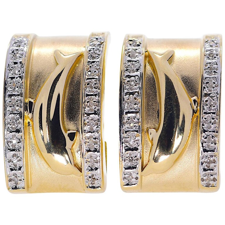 14 Karat Yellow Gold Dolphin Half Cuff with Diamonds Earrings 11.70 Grams For Sale