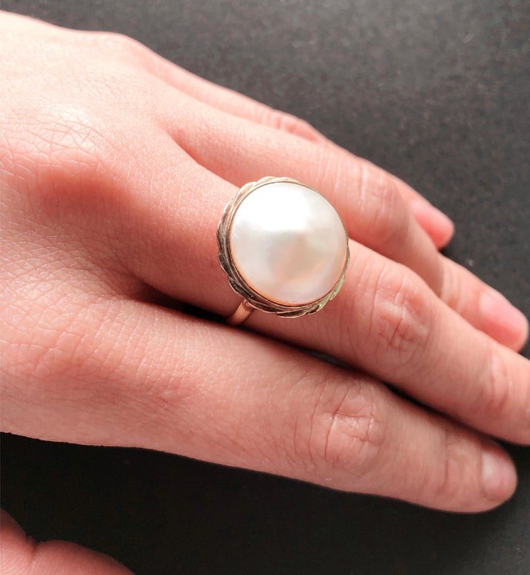 Round Cut 14 Karat Yellow Gold Dome Pearl Ring For Sale