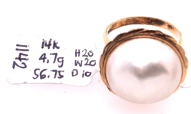 14 Karat Yellow Gold Dome Pearl Ring For Sale 2