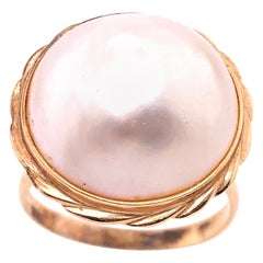 14 Karat Yellow Gold Dome Pearl Ring