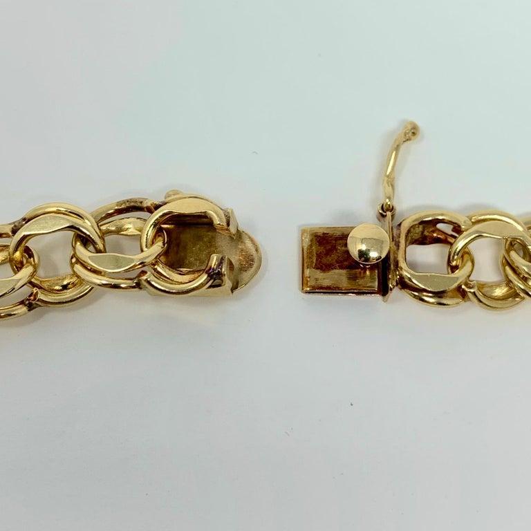 14 Karat Yellow Gold Double Circle Link Charm Bracelet 1