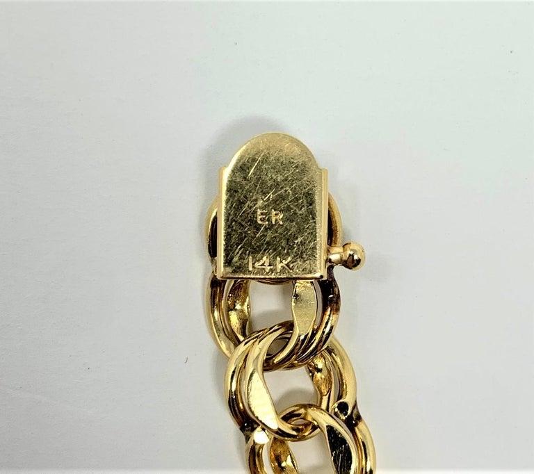 14 Karat Yellow Gold Double Circle Link Charm Bracelet 2