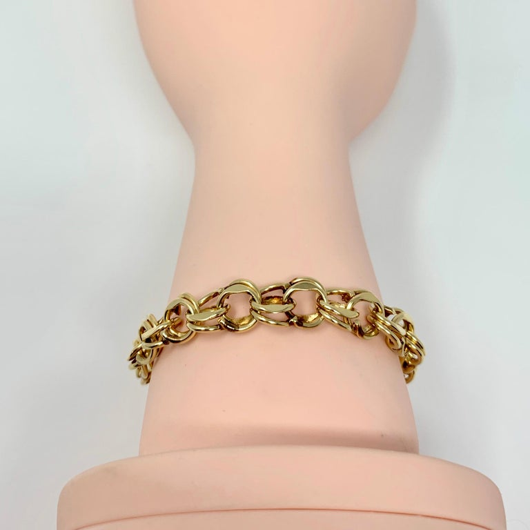 14 Karat Yellow Gold Double Circle Link Charm Bracelet 3