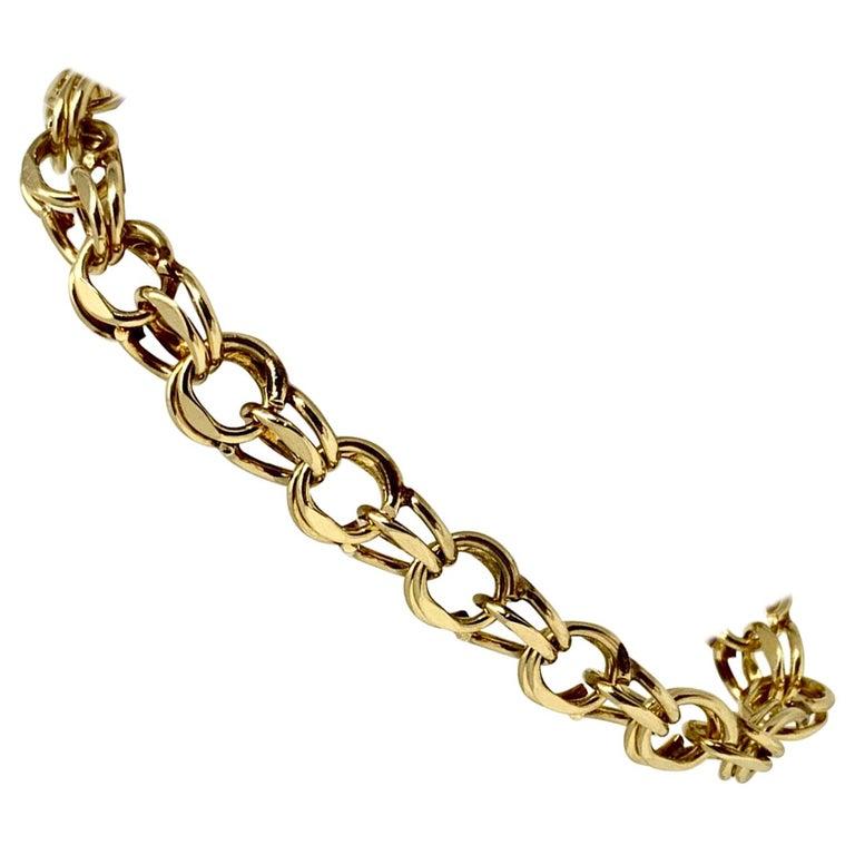 14 Karat Yellow Gold Double Circle Link Charm Bracelet