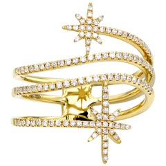 14 Karat Yellow Gold Double North Star Diamond Starburst Spiral Ring