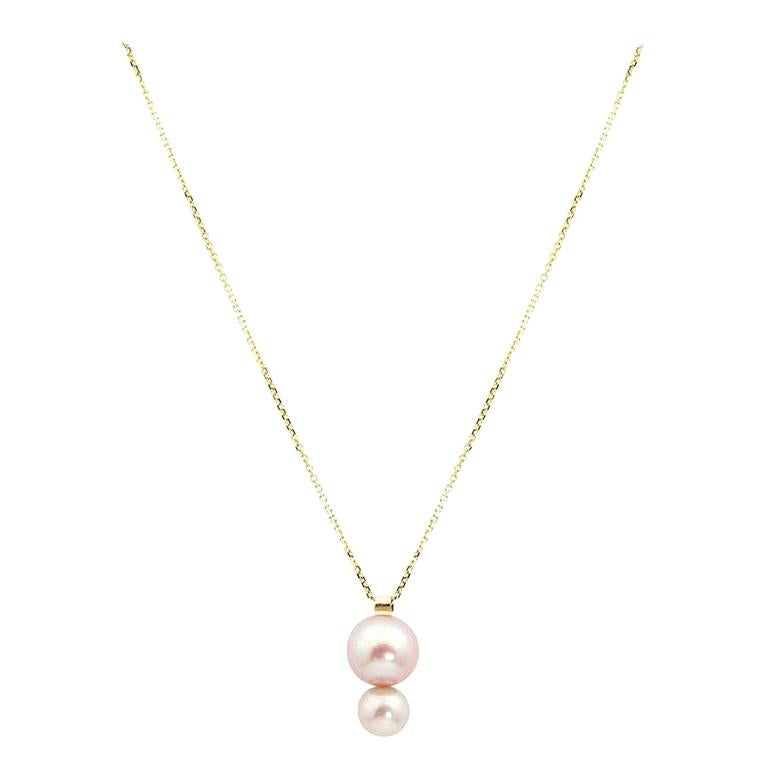 14 Karat Yellow Gold Double Pearl Pendant Necklace, Ready to Ship