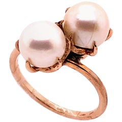 14 Karat Yellow Gold Double Pearl Ring