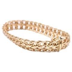14 Karat Yellow Gold Double Row Oval Link Bracelet