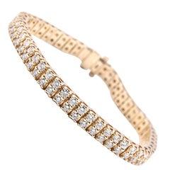14 Karat Yellow Gold Double Row Round Diamond Tennis Bracelet