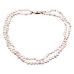 14 Karat Yellow Gold Double Strand Baroque Seed Pearl Necklace