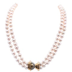 14 Karat Yellow Gold Double Strand Pearl and Diamond Necklace