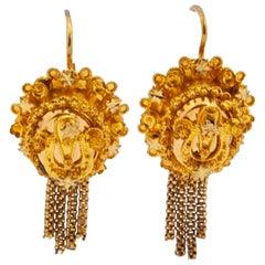 14 Karat Yellow Gold Filigree Tassel Earrings