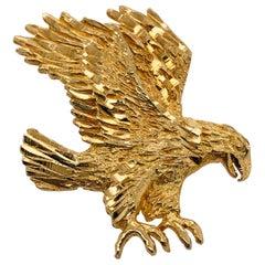 14 Karat Yellow Gold Eagle Charm Pendant