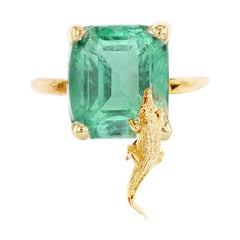 14 Karat Yellow Gold Egyptian Revival Ring with Natural Mint Emerald