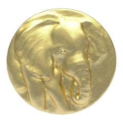 14 Karat Yellow Gold Elephant Signet Ring