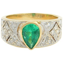 14 Karat Yellow Gold Emerald 1.30 Carat Diamond 0.50 Carat Ring
