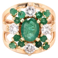 14 Karat Yellow Gold Emerald and Diamond Cocktail Ring