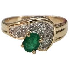 14 Karat Yellow Gold Emerald and Diamond Cocktail Ring
